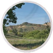 Hills In Peters Canyon Round Beach Towel