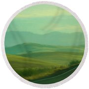 Hills In The Early Morning Light Digital Impressionist Art Round Beach Towel