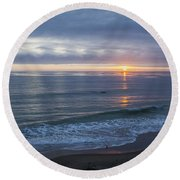 Hills Of Clouds With Ocean Sunset Round Beach Towel