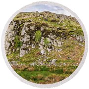 Hills Of Hadrians Wall England Round Beach Towel