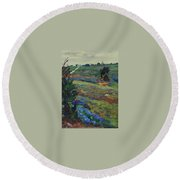 Hills Of Joy Round Beach Towel