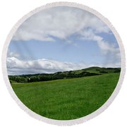 Hills Touching The Sky. Round Beach Towel