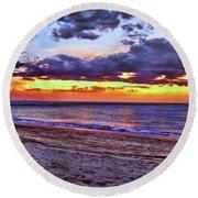 Hillsboro Beach Orange Sunset Hdr Round Beach Towel