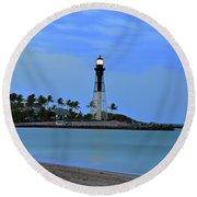 Hillsboro Lighthouse Twilight Time Round Beach Towel