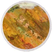 Hillside Flowers I Round Beach Towel