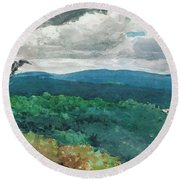 Hilly Landscape Round Beach Towel
