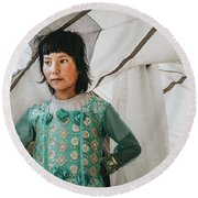 Himalayan Girl Round Beach Towel
