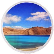 Himalayan Lake Round Beach Towel