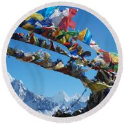 Himalayas In Nepal Round Beach Towel