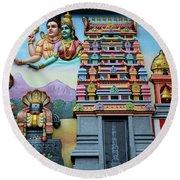 Hindu Deities On Wall Mural Of Sri Senpaga Vinayagar Tamil Temple Ceylon Rd Singapore Round Beach Towel