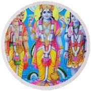 Hindu Trinity Brahma Vishnu Shiva Round Beach Towel
