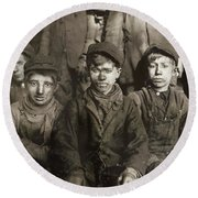 Hine: Breaker Boys, 1911 Round Beach Towel