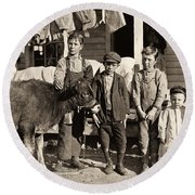 Hine: Child Labor, 1908 Round Beach Towel