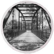Hinkson Creek Bridge In Black And White Round Beach Towel