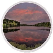 Hinson Lake Clouds Round Beach Towel