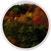 Hint Of Fall Color Painting Round Beach Towel