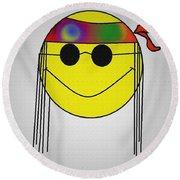 Hippie Face Round Beach Towel