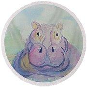 Hippo  Round Beach Towel