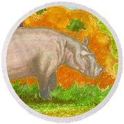 Hippo In The Savanna Round Beach Towel