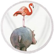 Hippo With Flamingo Round Beach Towel