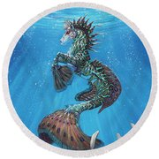 Hippocampus Round Beach Towel