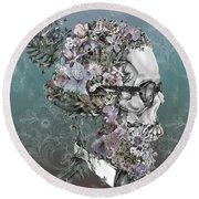 Hipster Floral Skull 2 Round Beach Towel