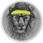 Hipster Lion Round Beach Towel