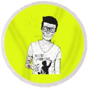 Hipsters Not Dead Round Beach Towel
