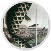 Hiroshige: Kites, 1857 Round Beach Towel