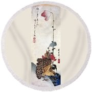 Hiroshige: Poppies Round Beach Towel