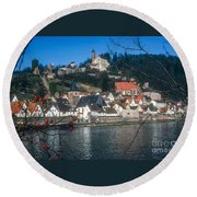 Hirschhorn Village On The Neckar Round Beach Towel
