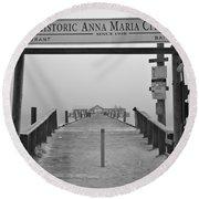 Historic Anna Maria City Pier In Fog Infrared 52 Round Beach Towel