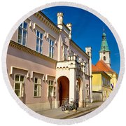 Historic Architecture Of Town Bjelovar Round Beach Towel