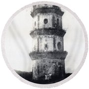 Historic Asian Tower Building Round Beach Towel