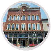 Historic Buildings Deadwood South Dakota Round Beach Towel