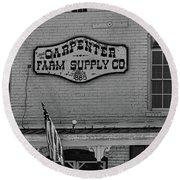 Historic Carpenter Farm Supply Sign Round Beach Towel