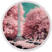 Historic Cemetery In Infrared Round Beach Towel