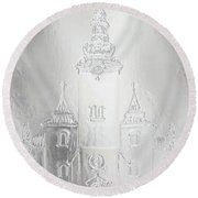 Historic Church And Town Square, Graphic Work From Painting. Metal Effect. Round Beach Towel