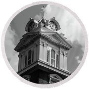 Historic Courthouse Steeple In Bw Round Beach Towel by Doug Camara