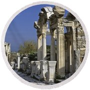 Historic Ephesus Round Beach Towel