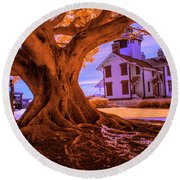 Historic Fermin Point Lighthouse In Infrared Round Beach Towel