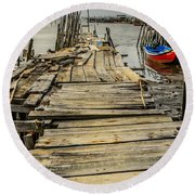 Historic Fishing Pier In Portugal I Round Beach Towel
