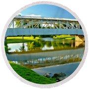 Historic Halls Mill Bridge Reflections Round Beach Towel