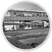 Historic Halls Mill Bridge Reflections Black And White Round Beach Towel