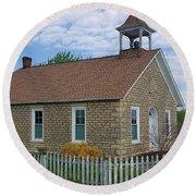 Historic Hinerville Schoolhouse  Round Beach Towel