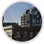 Historic Landmark Signs Roanoke Virginia Round Beach Towel