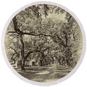 Historic Lane Antique Sepia Round Beach Towel
