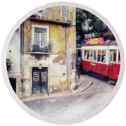 Historic Lisbon Tram Round Beach Towel