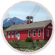 Historic Maysville School In Colorado Round Beach Towel