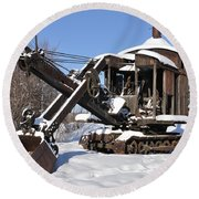 Historic Mining Steam Shovel During Alaska Winter Round Beach Towel